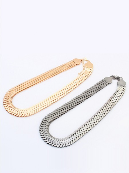 Oeste Personality Metallic thick chains Curtos colar
