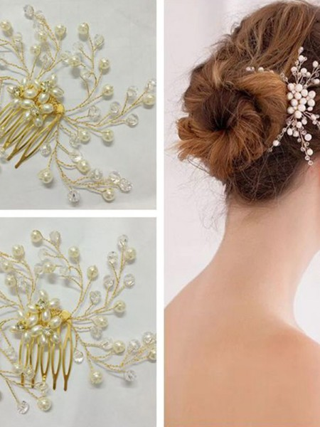 Trending Pérola Checa Headpieces do casamento
