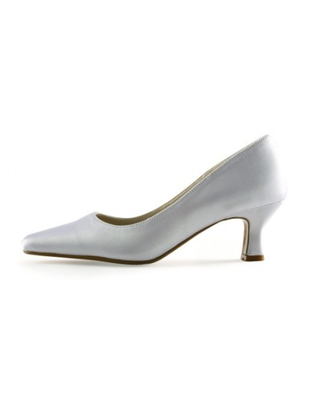 Mulheres Cetim Upper Chunky Heel Pointed Toe Branco Casamento Sapatos